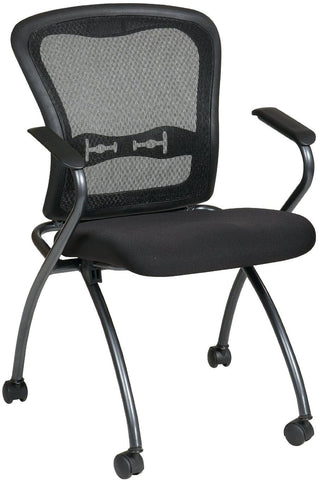 Office Star Pro-Line II 84440-30 Deluxe Folding Chair with ProGrid® Back, Arms and Titanium Finish (2-Pack) - Peazz Furniture
