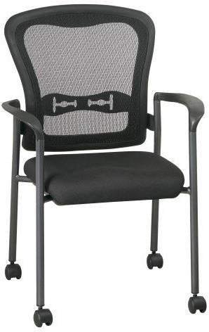 Office Star Pro-Line II 84540-30 Titanium Finish Visitors Chair with Arms, Casters and Breathable Mesh ProGrid® Back - Peazz Furniture