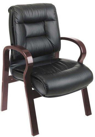 Office Star Pro-Line II 8505 Deluxe Mid Back Black Leather Visitors Chair with Mahogany Finish - Peazz Furniture