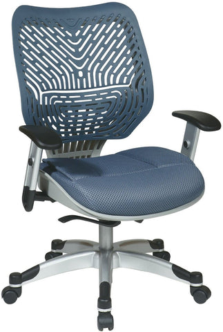 Office Star Space Seating 86-M77C625R Unique Self Adjusting Blue Mist SpaceFlex® Back and Raven Mesh Seat Managers Chair - Peazz Furniture