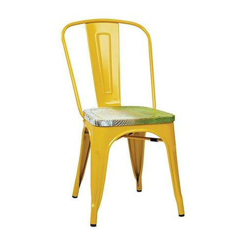 OSP Designs BRW2910A4-C307 Bristow Metal Chair with Vintage Wood Seat, Yellow Finish Frame & Pine Alice Finish Seat, 4 Pack - Peazz.com