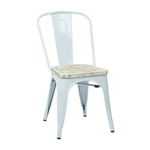 OSP Designs BRW2911A2-C305 Bristow Metal Chair with Vintage Wood Seat,White Finish Frame & Pine Irish Finish Seat, 2-Pack - Peazz.com