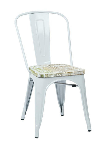 OSP Designs BRW2911A4-C305 Bristow Metal Chair with Vintage Wood Seat, White Finish Frame & Pine Irish Finish Seat - Peazz.com