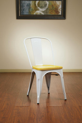 OSP Designs BRW2911A4-C308 Bristow Metal Chair with Vintage Wood Seat, White Finish Frame & Ash Yellowstone Finish Seat - Peazz.com