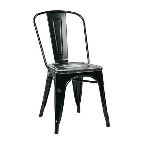 OSP Designs BRW293A4-C306 Bristow Metal Chair with Vintage Wood Seat, Black Finish Frame & Ash Crazy Horse Finish Seat, 4 Pack - Peazz.com