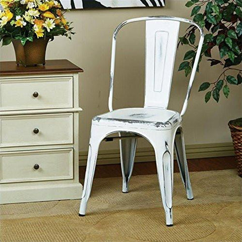 OSP Designs BRW29A4-AW Bristow Armless Chair, Antique White Finish, 4 Pack - Peazz.com