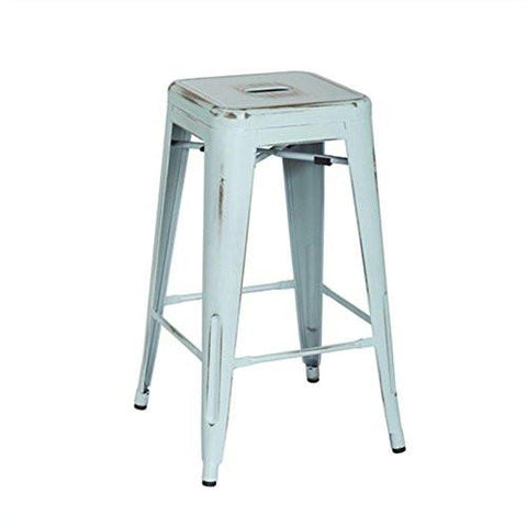 "OSP Designs BRW3026A2-ASB Bristow 26"" Antique Metal Barstools, Antique Sky Blue, 2-Pack - Peazz.com"