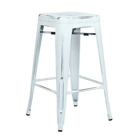 "OSP Designs BRW3026A2-AW Bristow 26"" Antique Metal Barstools, Antique White, 2-Pack - Peazz.com"