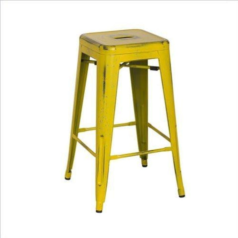 "OSP Designs BRW3026A2-AY Bristow 26"" Antique Metal Barstools, Antique Yellow with Blue Specks, 2-Pack - Peazz.com"