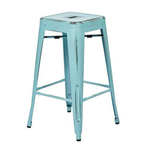 "OSP Designs BRW3026A4-ASB Bristow 26"" Antique Metal Barstool, Antique Sky Blue Finish, 4 Pack - Peazz.com"