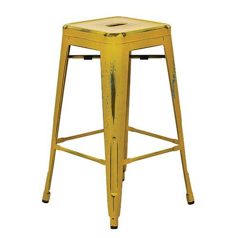 "OSP Designs BRW3026A4-AY Bristow 26"" Antique Metal Barstool, Antique Yellow with Blue Specks Finish, 4 Pack - Peazz.com"