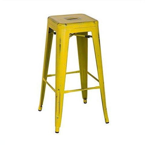 "OSP Designs BRW3030A4-AY Bristow 30"" Antique Metal Barstool, Antique Yellow with Blue Specks Finish, 4 Pack - Peazz.com"