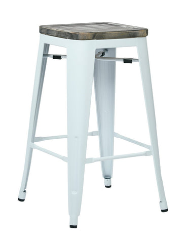 "OSP Designs BRW312611A2-C306 Bristow 26"" Antique Metal Barstool with Vintage Wood Seat, White Finish Frame & Ash Crazy Horse Finish Seat, 2 Pack - Peazz.com"