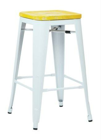 "OSP Designs BRW312611A4-C305 Bristow 26"" Antique Metal Barstool with Vintage Wood Seat, White Finish Frame & Pine Irish Finish Seat, 4 Pack - Peazz.com"