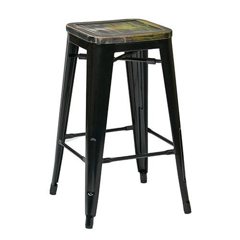 "OSP Designs BRW31263A4-C301 Bristow 26"" Antique Metal Barstool with Vintage Wood Seat, Black Finish Frame & Ash Cameron Finish Seat, 4 Pack - Peazz.com"