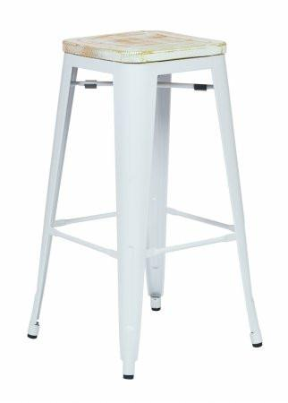 "OSP Designs BRW313011A2-C305 Bristow 30"" Antique Metal Barstool with Vintage Wood Seat, White Finish Frame & Pine Irish Finish Seat, 2 Pack - Peazz.com"
