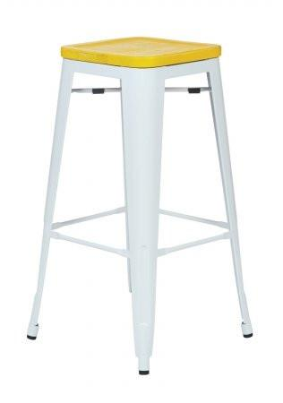 "OSP Designs BRW313011A2-C308 Bristow 30"" Antique Metal Barstool with Vintage Wood Seat, White Finish Frame & Yellow Stone Finish Seat, 2 Pack - Peazz.com"