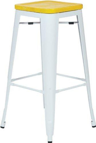"OSP Designs BRW313011A4-C308 Bristow 30"" Antique Metal Barstool with Vintage Wood Seat, White Finish Frame & Yellow Stone Finish Seat, 4 Pack - Peazz.com"