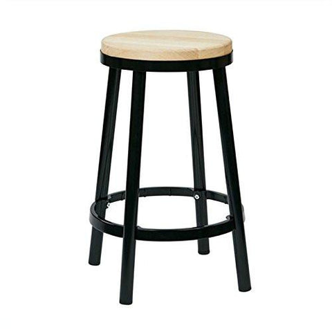 "OSP Designs BRW3226-3 Bristow 26"" Metal Backless Barstool, Black Finish Frame - Peazz.com"