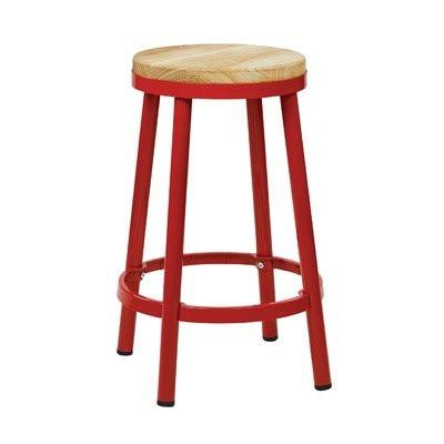 "OSP Designs BRW3226-9 Bristow 26"" Metal Backless Barstool, Red Finish Frame - Peazz.com"