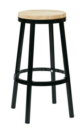 "OSP Designs BRW3230-3 Bristow 30"" Metal Backless Barstool, Black Finish Frame - Peazz.com"