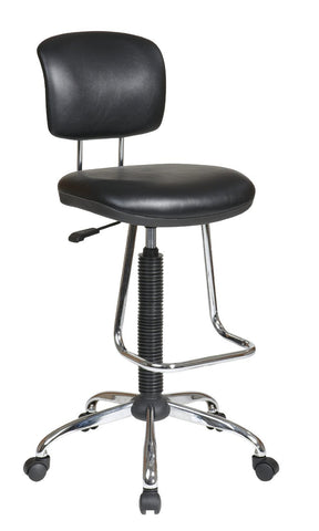 Office Star Work Smart DC420V-3 Chrome Finish Economical Chair with Teardrop Footrest - Peazz Furniture