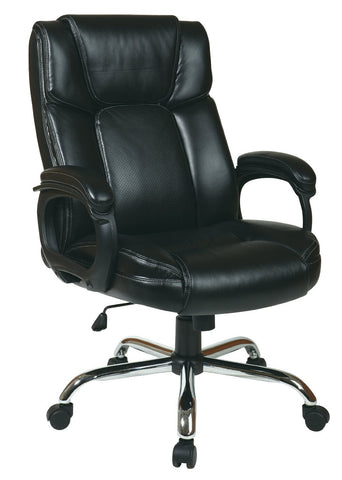Office Star Work Smart EC1283C-EC3 Executive Black Eco-Leather Big Mans Chair with Padded Loop Arms and Chrome Base - Peazz Furniture