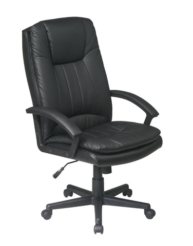Office Star Work Smart EC22070-EC3 Deluxe High Back Executive Black Eco Leather Chair - Peazz Furniture