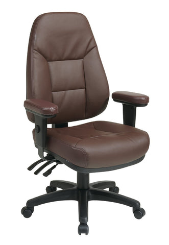 Office Star Work Smart EC4300-EC4 Professional Dual Function Ergonomic High Back Leather Chair with Adjustable Padded Arms - Peazz Furniture