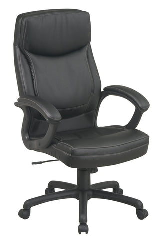Office Star Work Smart EC6582-EC3 Executive High Back Black Eco Leather Chair with Locking Tilt Control and Two Tone Stitching - Peazz Furniture