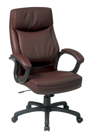 Office Star Work Smart EC6582-EC9 Executive High Back Mocha Eco Leather Chair with Locking Tilt Control and Two Tone Stitching - Peazz Furniture