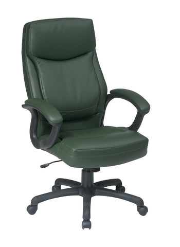 Office Star Work Smart EC6583-EC16 Executive High Back Green Eco Leather Chair with Locking Tilt Control and Color Match Stitching - Peazz Furniture