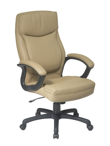 Office Star Work Smart EC6583-EC21 Executive High Back Tan Eco Leather Chair with Locking Tilt Control and Color Match  Stitching - Peazz Furniture