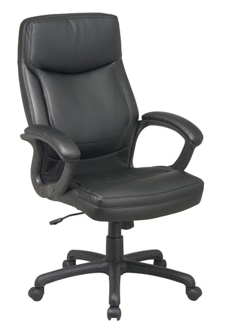 Office Star Work Smart EC6583-EC3 Executive High Back Black Eco Leather Chair with Locking Tilt Control and Color Match Stitching - Peazz Furniture