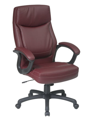 Office Star Work Smart EC6583-EC4 Executive High Back Burgundy Eco Leather Chair with Locking Tilt Control and Color Match Stitching - Peazz Furniture