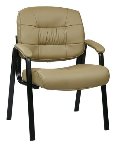 Work Smart EC8124-EC21 Eco Leather Visitors Chair with Steal Base and Padded Arms (Tan) - Peazz.com