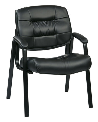 Work Smart EC8124-EC3 Eco Leather Visitors Chair (Black) - Peazz.com
