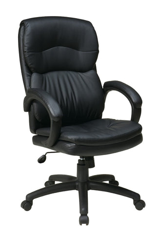 Office Star Work Smart EC9230-EC3 High Back Black Eco Leather Executive Chair with Padded Arms - Peazz Furniture