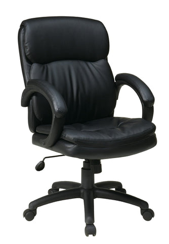 Office Star Work Smart EC9231-EC3 Mid Back Black Eco Leather Executive Chair with Padded Arms - Peazz Furniture