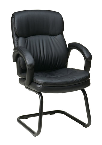 Office Star Work Smart EC9235-EC3 Eco Leather Visitors Chair with Padded Arms and Sled Base - Peazz Furniture