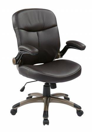 Work Smart ECH37811-EC1 Executive Mid Back Eco Leather Chair with Adjustable Padded Flip Arms - Peazz.com