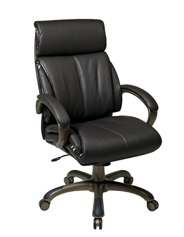 Office Star Work Smart ECH68801-EC1 Executive Espresso Eco Leather Chair with Locking Tilt Control and Cocoa Coated Base - Peazz Furniture