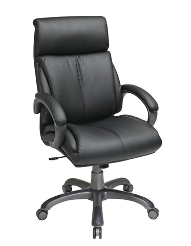Office Star Work Smart ECH68807-EC3 Executive Black Eco Leather Chair with Locking Tilt Control and Titanium Coated Base - Peazz Furniture