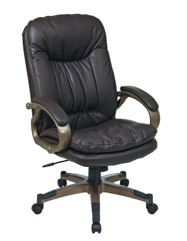 Office Star Work Smart ECH83501-EC1 Executive Espresso Eco Leather Chair with Padded Arms and Cocoa Coated Frame - Peazz Furniture