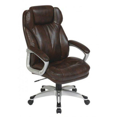 Office Star Work Smart ECH85801-EC1 Executive Eco Leather Chair with Padded Arms - Peazz Furniture