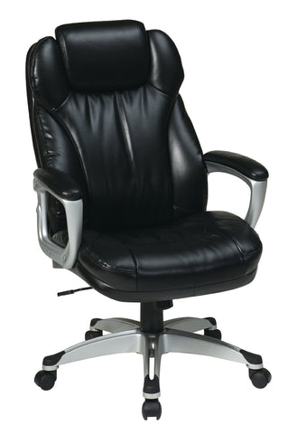 Office Star Work Smart ECH85806-EC3 Executive Eco Leather Chair with Padded Arms - Peazz Furniture