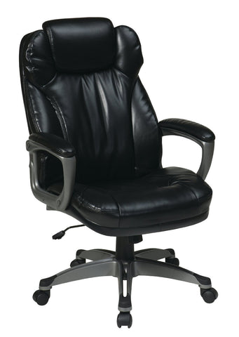 Office Star Work Smart ECH85807-EC3 Executive Eco Leather Chair with Padded Arms - Peazz Furniture