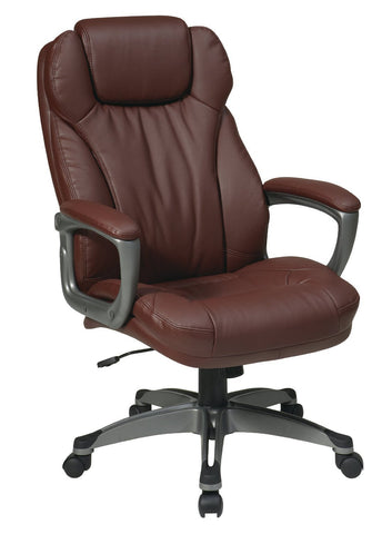 Office Star Work Smart ECH85807-EC6 Executive Eco Leather Chair with Padded Arms - Peazz Furniture