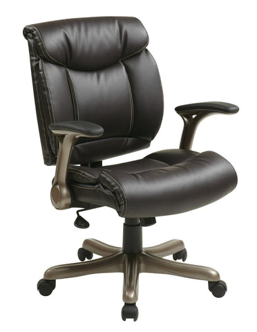 Office Star Work Smart ECH8967K5-EC1 Executive Eco Leather Chair in Cocoa/Espresso - Peazz Furniture