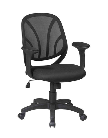 "Office Star Work Smart EM20522-3 Screen Back, Mesh Seat Managers Chair with Mesh Fabric Padded  ""T"" Arms - Peazz Furniture"